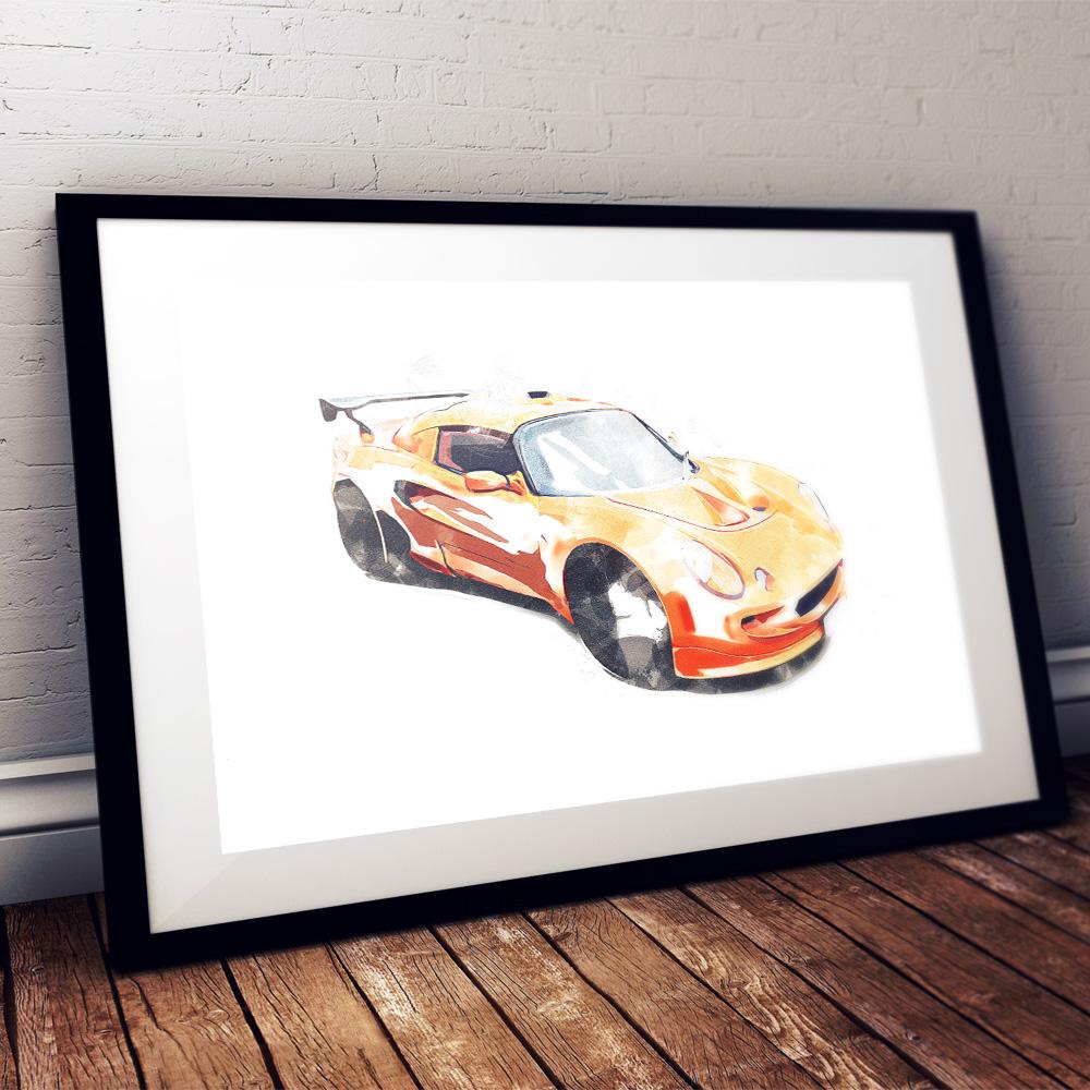 exige orange watercolour framed